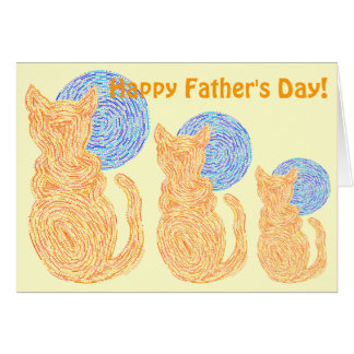Z Orange Cat And The Moon Funny Fathers Day Card