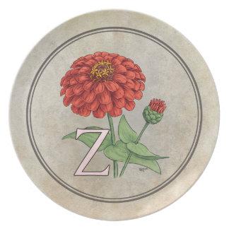 Z para el monograma del alfabeto de la flor de los plato de cena