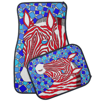 Z Patriotic Zebra Red White And Blue Mosaic Full Car Floor Mat