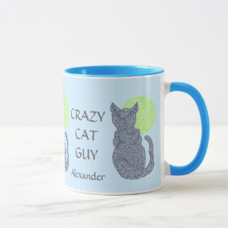 Z Personalize This Fun Crazy Cat Guy Coffee Cup