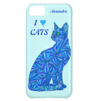 Z Personalize This Fun I Love Cats Blue Cat Cover For iPhone 5C