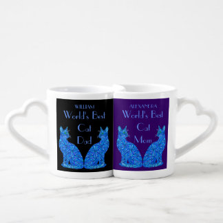 Z Personalized Blue Cat Best Cat Mom And Dad Coffee Mug Set