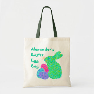 Z Personalized Green Easter Bunny And Eggs Fun Budget Tote Bag
