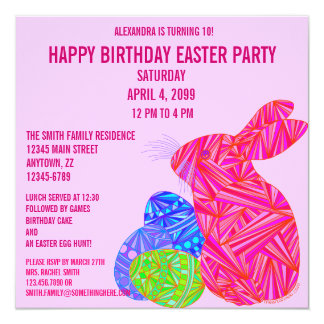 Z Pink Bunny Easter Themed Birthday Party Invite