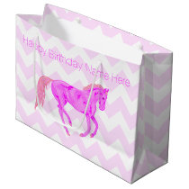 Z Pink Pony Cute Chevron Pattern Happy Birthday Large Gift Bag