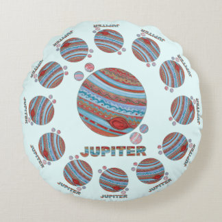 Z Planet Jupiter And Moons Colorful Space Geek Round Pillow