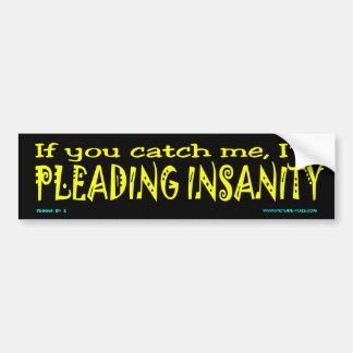 z Pleading Insanity Car Bumper Sticker