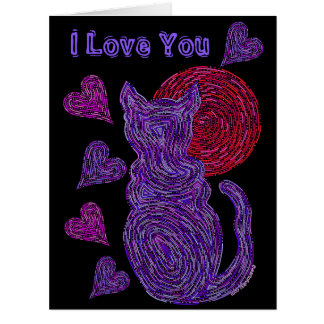 Z Purple Cat And The Moon Cat Lover Anniversary Card