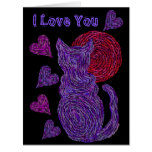 Z Purple Cat And The Moon Cat Lover Anniversary Large Greeting Card