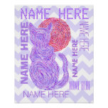 Z Purple Cat And The Moon Cat Lover Chevron Poster