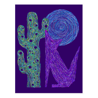 Z Purple Coyote Wolf Colorful Southwestern Design Postcard