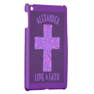 Z Purple Cross Christian Symbol Faith Religion Cover For The iPad Mini