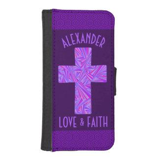 Z Purple Cross Christian Symbol Faith Religion iPhone SE/5/5s Wallet Case