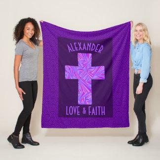 Z Purple Cross Christian Symbol Personalized Fleece Blanket