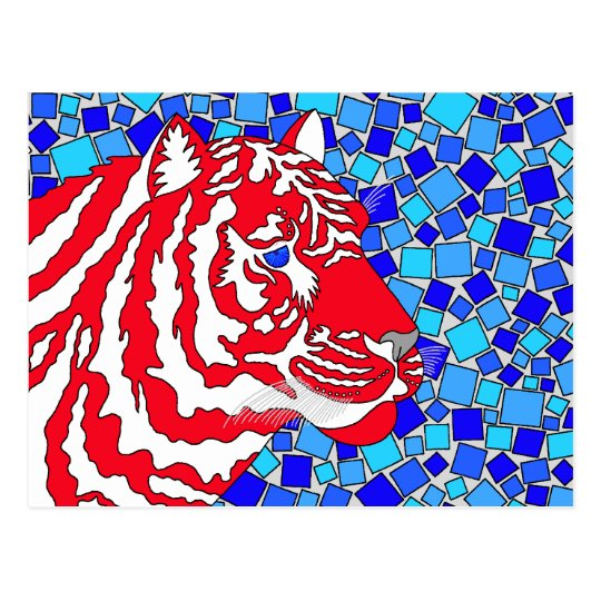 Z Red White And Blue Patriotic Tiger Postcard