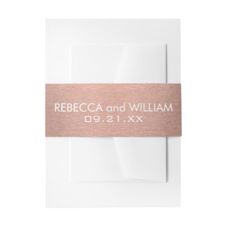 Z Rose Gold And Copper Pink Color Modern Wedding Invitation Belly Band