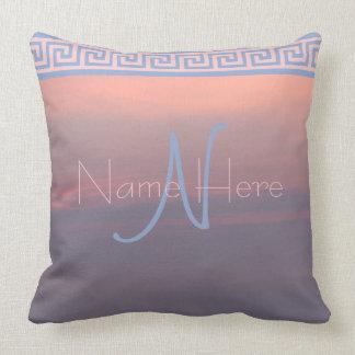Z Rose Quartz And Serenity Sunrise Sky Monogram Throw Pillow