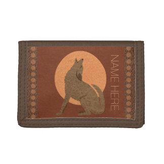 Z Rustic Coyote Southwest Faux Leather Brown Tan Tri-fold Wallets