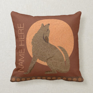 Z Rustic Coyote Southwest Faux Leather Home Decor Throw Pillow