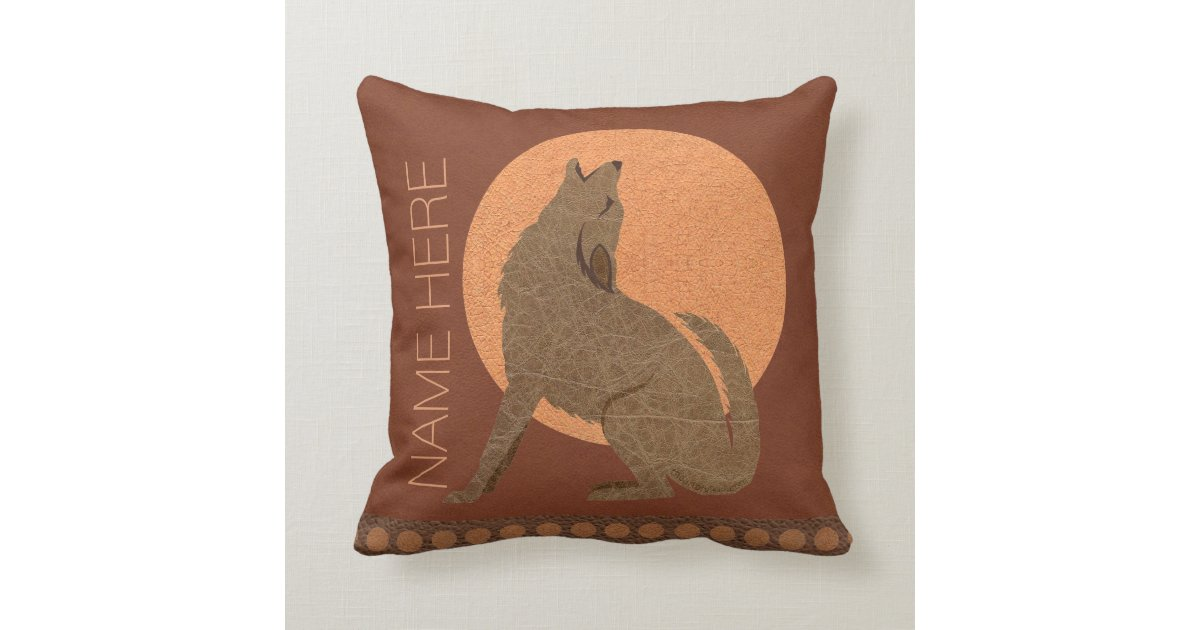 Z Rustic Coyote Southwest Faux Leather Home Decor Throw Pillow Zazzle