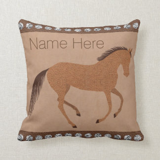 Z Rustic Horse Faux Leather Decor Reversible Name Throw Pillow