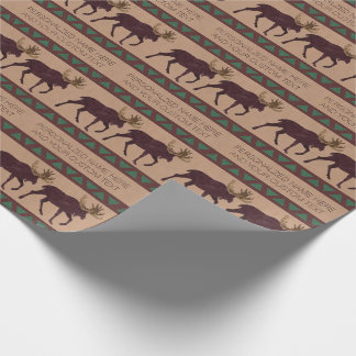 Z Rustic Moose Faux Leather-Look Any Occasion Wrapping Paper
