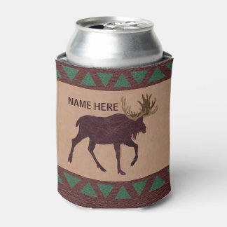 Z Rustic Moose Faux Leather-Look Design Can Cooler
