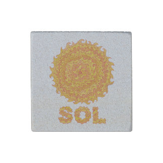 Z Sol The Sun Space Geek Yellow Orange Star Stone Magnet