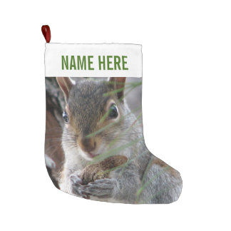 Z Squirrel With Peanut Woodland Personalized Large Christmas Stocking