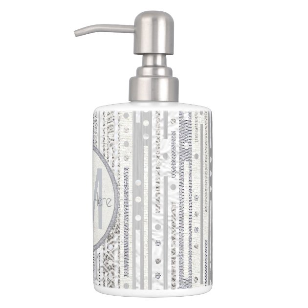 white and silver bathroom accessories z stripes dots silver white bath decor faux bling soap 24611