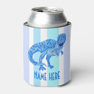 Z T-Rex Dinosaur Colorful Prehistoric Stripes Can Cooler
