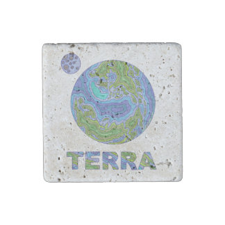 Z Terra Planet Earth Space Geek Blue And Green Fun Stone Magnet
