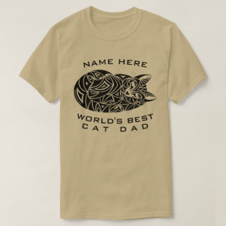 Z Tribal Cat Sleeping Funny Worlds Best Cat Dad T-Shirt