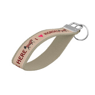 Z Trotting Bay Arabian Horse Equine Horse Lover Wrist Keychain