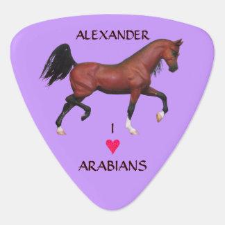 Z Trotting Bay Arabian Horse I Love Arabians Guitar Pick