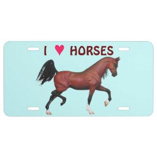 Z Trotting Bay Arabian Horse I Love Horses License Plate