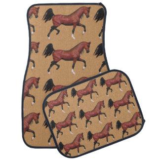 Z Trotting Bay Arabian Horses Fun Pattern Car Mat