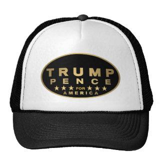 Z Trump Pence Gold Tone Oval Logo For America 2016 Trucker Hat