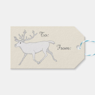 Z White Caribou Reindeer Christmas Holiday Fun Gift Tags