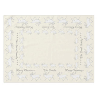 Z White Caribou Reindeer Christmas Holiday Fun Tablecloth