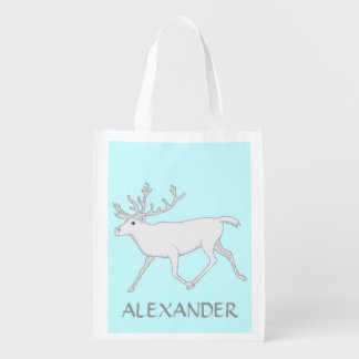Z White Caribou Reindeer Personalized Eco Friendly Market Totes
