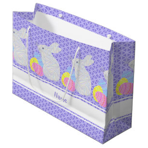 Easter egg hunt gift bags zazzle z white easter bunny colorful personalized large gift bag negle Choice Image