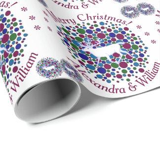 Z White Reindeer Caribou Polka Dot Christmas Name Wrapping Paper