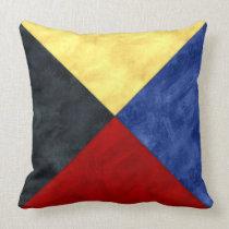 Z Zulu Watercolor Nautical Signal Maritime Flag Throw Pillow