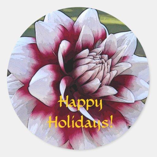 ZA- Happy Holidays Dahlia Sticker