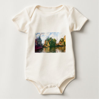 Zaandam, Canal by Claude Monet Baby Bodysuit
