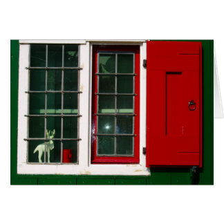 Zaandijk traditional window in red and green card