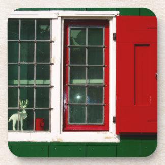 Zaandijk traditional window in red and green drink coaster