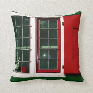 Zaandijk traditional window in red and green throw pillow