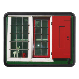 Zaandijk traditional window in red and green tow hitch cover